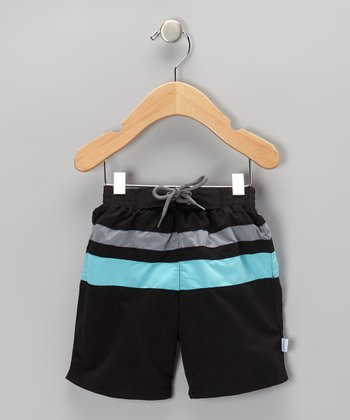 Black & Aqua Color Block Board Shorts - Infant & Toddler