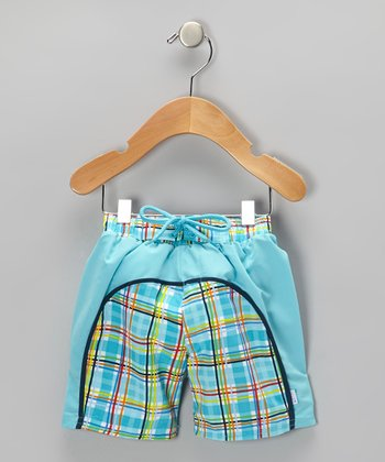 Aqua Plaid Board Shorts - Infant & Toddler