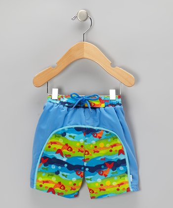 Blue Fish & Bubbles Board Shorts - Infant & Toddler