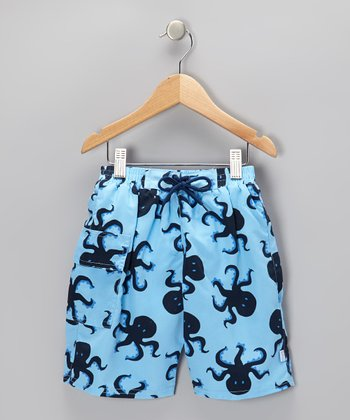 Light Blue Octopus Pocket Swim Trunks - Infant & Toddler