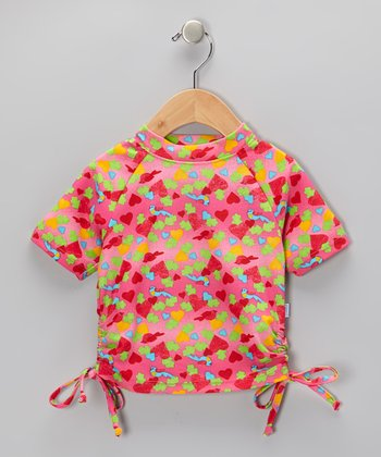 Hot Pink Bird & Heart Short-Sleeve Tie Rashguard - Infant & Toddler