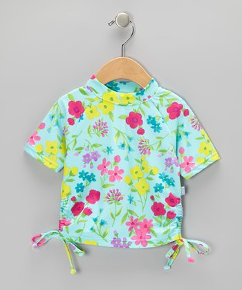 Aqua Water Floral Short-Sleeve Tie Rashguard - Infant
