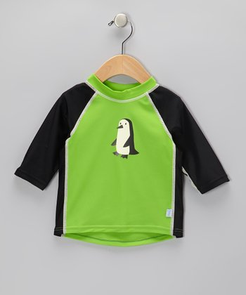 Green Penguin Three-Quarter Sleeve Rashguard - Infant