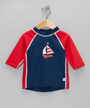 Navy Sailboat Three-Quarter Sleeve Rashguard - Infant & Toddler