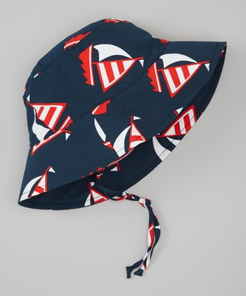 Navy Sailboat Bucket Hat