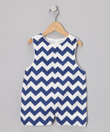 Navy Zigzag Shortalls - Infant