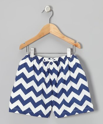 Navy Zigzag Cotton Swim Trunks - Infant & Toddler