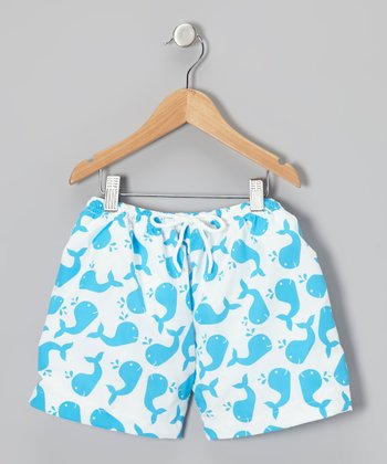 Turquoise Whale Cotton Swim Trunks - Infant & Toddler