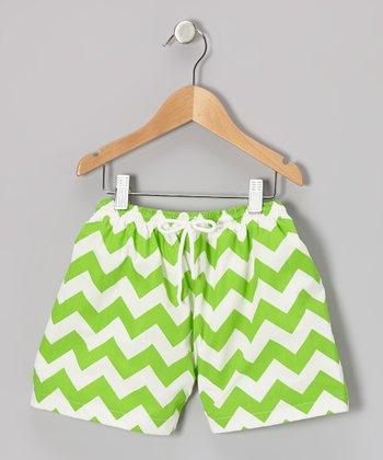 Lime Green Zigzag Cotton Swim Trunks - Infant & Toddler