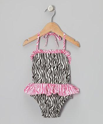 Black & Hot Pink Zebra Skirted Sunsuit - Infant & Toddler