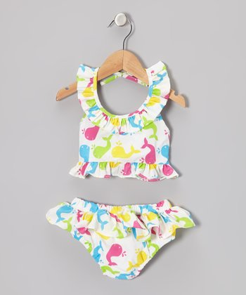 Pink & Yellow Whale Cotton Bikini - Toddler & Girls