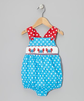Blue & Red Crab Smocked Bubble Bodysuit - Infant
