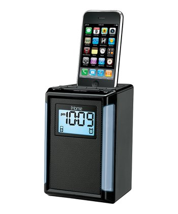 Black FM Alarm Clock Radio for iPhone or iPod