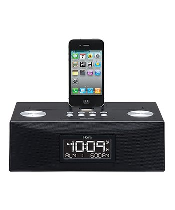 Black App-Enhanced Dual Alarm Clock Radio for iOS