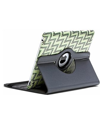 Black & Green Zigzag Rotating Case for iPads 2/3/4