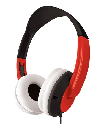 Red & Black Stereo Flat-Cable Headphones