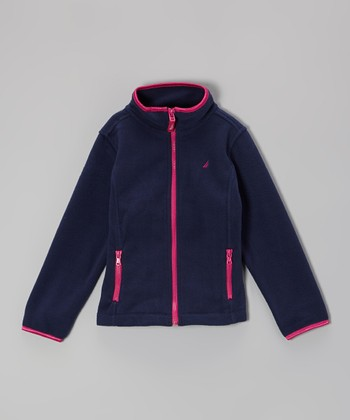 Naval Blue Polar Fleece Jacket - Girls