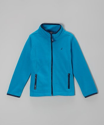 Dark Turquoise Polar Fleece Jacket - Girls