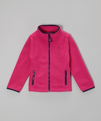 Bright Pink Polar Fleece Jacket - Girls