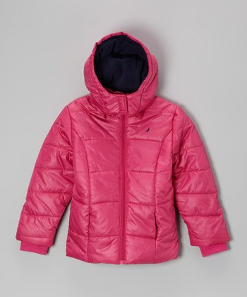 Bright Pink Puffer Coat - Girls