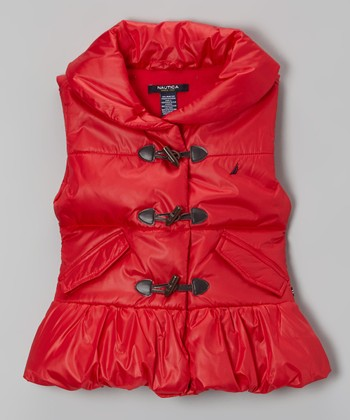 Red Puffer Vest - Girls