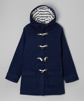 Naval Blue Toggle Hooded Coat - Girls