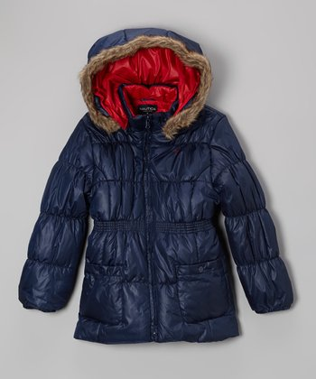 Naval Blue Hooded Parka - Girls