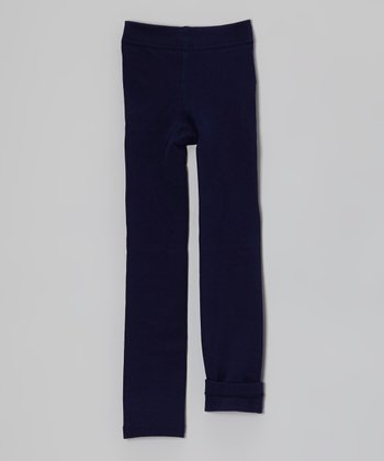 Blue Fleece-Lined Leggings - Toddler & Girls