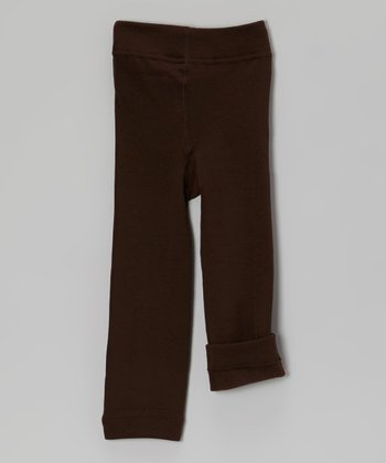 Dark Chocolate Fleece-Lined Leggings - Toddler & Girls