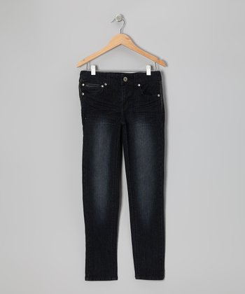 Jet Black Pleather Skinny Jeans - Girls