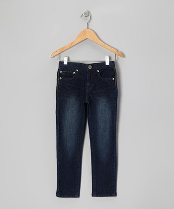 Dark Blue Wash Pleather Skinny Jeans - Girls