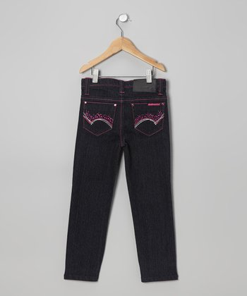 Black & Pink Skinny Jeans - Girls