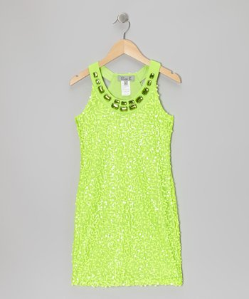 Neon Green Sequin Yoke Dress