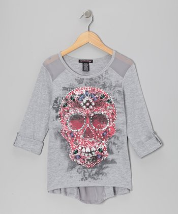 Heather Gray Skull Top - Girls