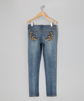 Light Wash Gold Trim Skinny Jeans - Girls