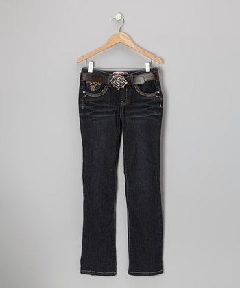 Dark Stone Rhinestone Flap Pocket Flare Jeans - Girls