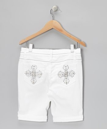 White Cross Bermuda Shorts
