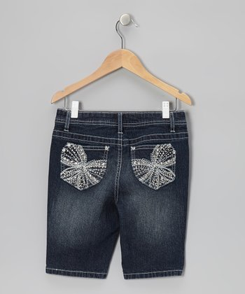 Dark Wash Butterfly Bermuda Shorts