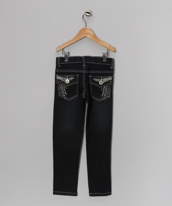 Black Rhinestone Flap-Pocket Skinny Jeans