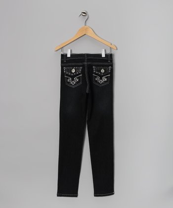 Black & Silver Rhinestone Sequin Flap-Pocket Jeans - Girls