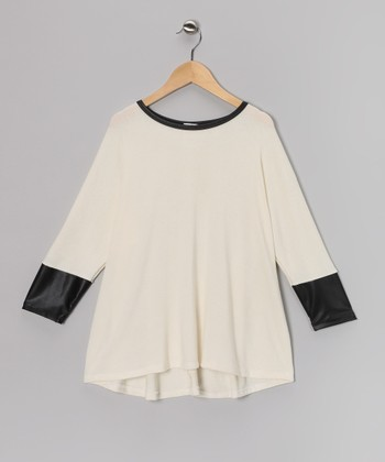 Ivory & Black Dolman Top