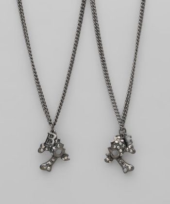 Hematite Rhinestone Best Friend Skull Necklace Set
