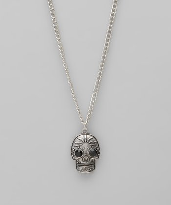 Silver & Black Rhinestone Sugar Skull Pendant Necklace