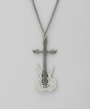 Burnished Silver Guitar Pendant Necklace