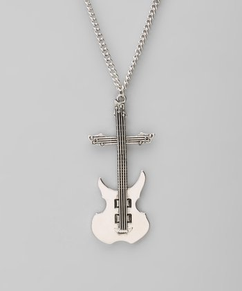 Silver Guitar Pendant Necklace