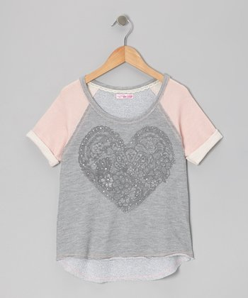 Pink & Gray Lace Heart Raglan Top