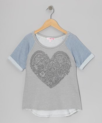 Blue & Gray Lace Heart Raglan Top