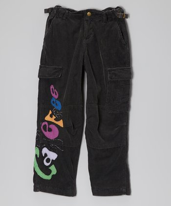 Black 'Carefree' Corduroy Cargo Pants - Girls