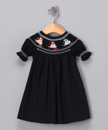 Blue Snowman Bishop Dress - Infant & Toddler