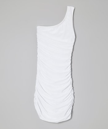 White Caterpillar Ruched Asymmetrical Dress - Girls